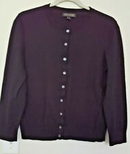 BANANA REPUBLIC PIMA COTTON CASHMERE Sweater Cardigan Black Long Sleeve M