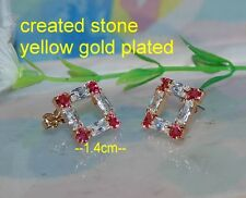 ruby CZ square earring
