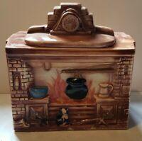 VINTAGEMcCoy Fireplace 1941 Brown Cookie Jar USA Mantel Clock Cat Kettle Fire