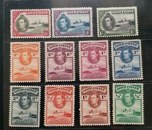 GOLD COAST 1938 KG VI 1/2d to 5s SG 120 - 131 Sc 115 // 126 P12 set MLH