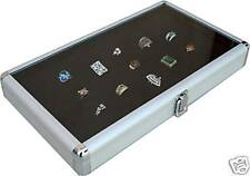 Glass Top Black Jewelry Display Case 144 Slot Ring Tray/Aluminum Ring case box