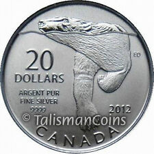 Canada 2012 Polar Bear Swimming $20 Commemorative Pure Silver Specimen