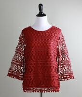 ANTHROPOLOGIE NWT $128 Tularosa Brick Red Embroidered Lace Overlay Top Size XS