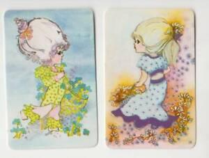 C17 swap cards pair of cute girls in retro gear flowers .C1970's blank back
