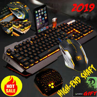 Gaming Keyboard and Mouse Mechanical Feel and Mouse Pad LED Warm Backlight USB