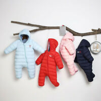 Newborn Infant Baby Boys Zipper Winter Warm Thick Romper Jumpsuit Hooded Coats