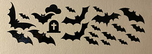 22 Halloween Bat Black Vinyl Stickers Window Decorations Spooky Party Kids