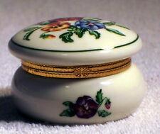 P7187 Partylite Pansy Porcelain Keepsake Box Tealight Candle Holder Trinket Box