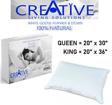 Creative Bed Pillows 100% Natural Goose Feather and Down 100% Cotton Case