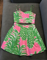Lilly Pulitzer Parfait Neon Pink & Lime Green Crop Top & Skirt Set Size 0 Euc