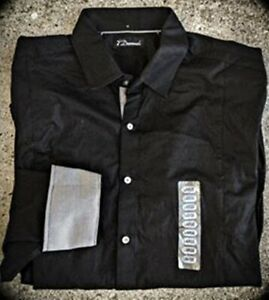 NWT $100 7 Diamonds Straight Pointed Men's Dress Shirt  BLACK/BLACK STRIPE-LARGE