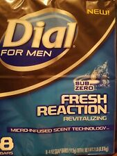 Dial For Men Sub Zero Fresh Reaction Blue Glycerin Bar Soap 8 bars-4oz each,F/S