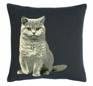 Iosis Yves Delorme Kochka Gray Cat Blue French Tapestry Decorative Pillow Cover