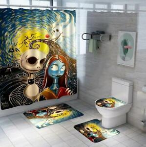 Skeleton Jack Sally Bathroom Mat Set Polyester Shower Curtain Toilet Lid No-slip