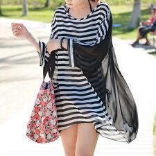 Sexy Women's Stripes Chiffon Oversized Beach Dress Bikini Swimwear Cover up