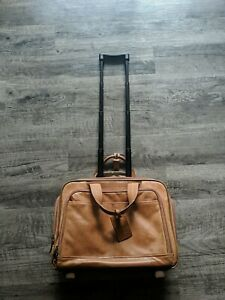 """Hartman Leather 17"""" Carry On Personal Item Rolling Hanging Bag 2 Wheels Laptop"""