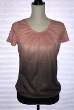 Gradient Color, Short Sleeve Chiffon Fashion Top, Size Medium