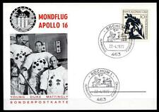 Apollo 16. Mondflug, Astronauten. Sonderkarte. SoSt. Bochum 27.4.1972. BRD 1972