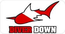 #651 (1) Diver Down Shark Decal Sticker Diving Padi Divers Laminated Red & White