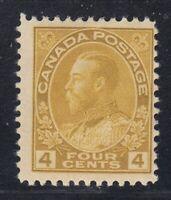"""Canada MINT OG Scott #110  4 cent olive bistre  """"Admiral""""  F"""