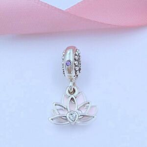 Lotus Flower Dangle Charm, 100% S925 Sterling Silver with Enamel & Clear CZ 🕊