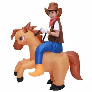 Kids Child Inflatable Horse Costume Girls Boys Cowboy Ride Horse Funny Disfraces