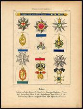 Antique Print-ORDER-GOLDEN FLEECE-GARTER-NORTH STAR-VASA-ELEPHANT-Schneider-1844