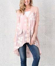 SIMPLY COUTURE Blush Pink Floral Embroidered Semi-sheer Hi-Lo Boho Cardigan BNWT