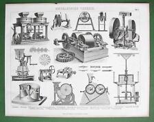 MILLS Various Types Millstones Milling Machines - 1870s Antique Print