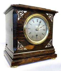 Antique Coromandel Single Fusee Mantel Clock With Silvered Dial