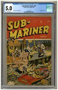 Sub-Mariner Comics 20 (CGC 5.0) O/W p; Angel backup story; Timely; 1946 (j#4828)