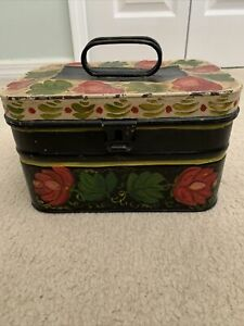 antique Hand-painted toleware box