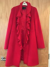 Coast Red Wool Coat With Frilly Collar, Size 12 Never Worn
