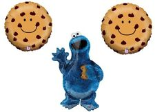 3 PC COOKIE MONSTER Chocolate Chip Party BaLlOoNs sesame street FREE SHIPPING