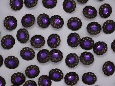 Vintage Purple Rhinestone w/ Crown Border Shank Buttons 20mm Lot of 10 B120-11
