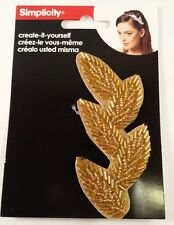 Simplicity Gold Beaded Leaves Headband Accent -