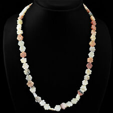 TOP GRADE SELLING 145.60 CTS NATURAL PINK AUSTRALIAN OPAL CARVED BEADS NECKLACE