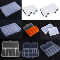 Plastic 15/24 Grids Fishing Lure Bait Hook Tackle Storage Box Case Container Lot