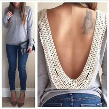 Sexy Women Backless Crocheted Lace Top Tee Shirt Blouse Casual Size 6-14