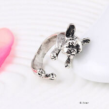 French Bulldog Dog Rings - Silver - Adjustable (R13)