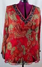 Signature by Robbie Bee Women's Tunic 22W 100% Silk Beaded Embellishments
