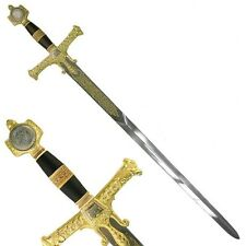 "47"" Medieval Israel King Solomon Crusader Knight Sword + Wood Display Plaque"