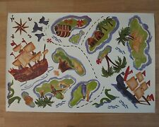NIB Pottery Barn Kids Wall decals PIRATE SHIP wallies TREASURE COVE Map art Bath
