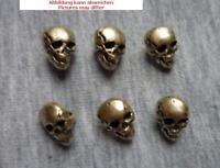 6 Knöpfe  10 mm oval  Metall mit Totenkopfmotiv  mit Öse altsilber