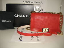 Boy CHANEL Red Lambskin Leather Cruise 2014 Medium Flap Cube GOLD Chain Handbag