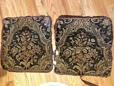 Antique Upholstery Fabric Pieces 1920 Floral Brushed Corduroy Darks Remants