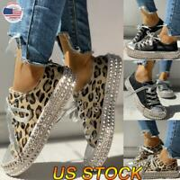 US Women Ladies Leopard Rivet Embellished Lace Up Canvas Shoes Mid Heel Sneakers