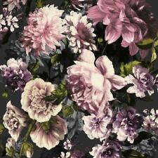 Floral Secret Garden Black Pink Lilac Flower Wall Effect Grandeco Wallpaper