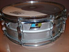 "VINTAGE 1970's LUDWIG SNARE 8 LUG BLUE AND OLIVE BADGE 14"" x 5"""