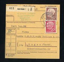 BUND Nr.185+190 WERT-PAKETKARTE ESSEN-WERDEN 23.1.1957 !!! (950772)